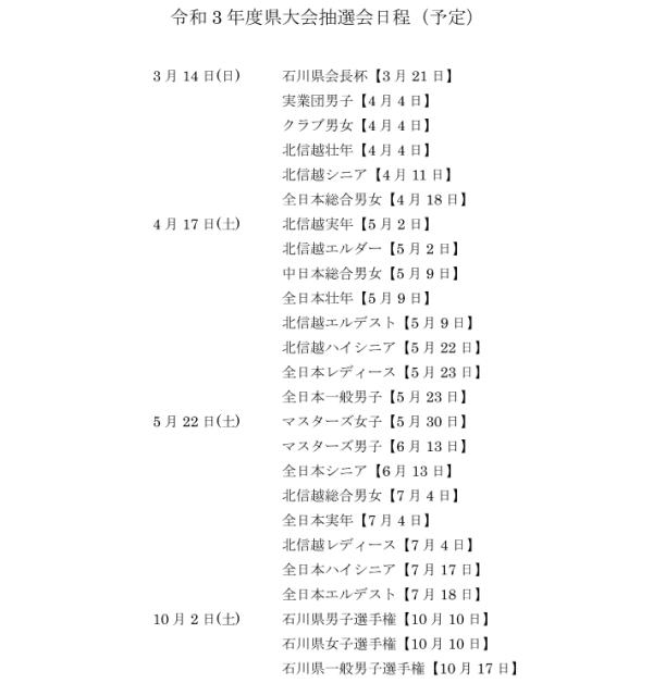 県予選組合せ抽選会予定