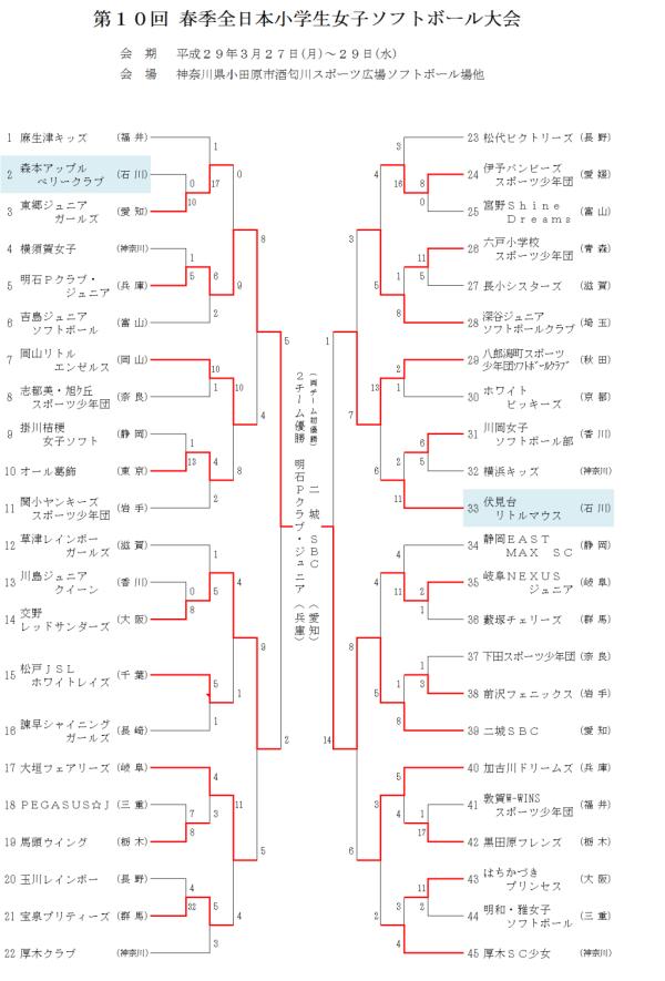 第10回 春季全日本小学生女子大会 結果