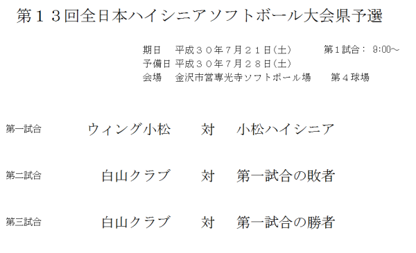 第13回全日本ハイシニアソフトボール大会県予選 組合せ 改
