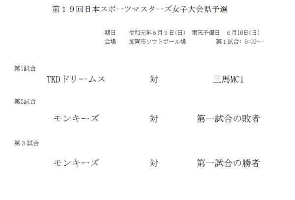 第19回日本スポーツマスターズ女子大会県予選 組合せ
