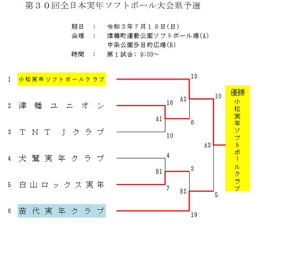 第30回全日本実年県予選結果