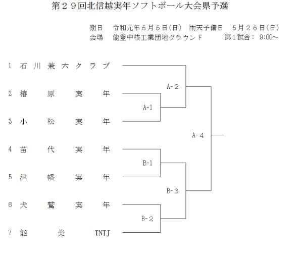 2019第29回北信越実年ソフトボール大会県予選 組合せ
