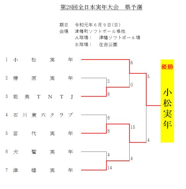 2019 第28回全日本実年大会 県予選 結果